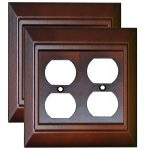 Mahogany Wall Plate Outlet Switch Covers <br> Size: 2 Gang Combo Toggle and Duplex – Pack of 2